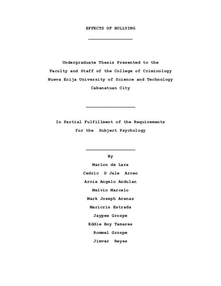 thesis tungkol sa pambubully
