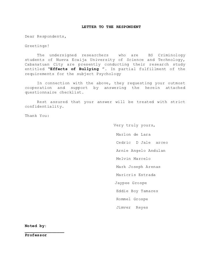 Letter of request for thesis interview