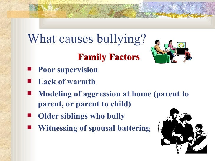 factors of bullying Bullying victimisation during adolescence has been found to be associated with a range of individual factors in contrast, family factors have been poorly.