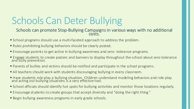 the importance of imposing a bullying awareness programs in schools to prevent suicides fights and u Integrating bullying prevention and restorative practices in schools: compatibility of rp and bp programs in schools awareness of bullying.