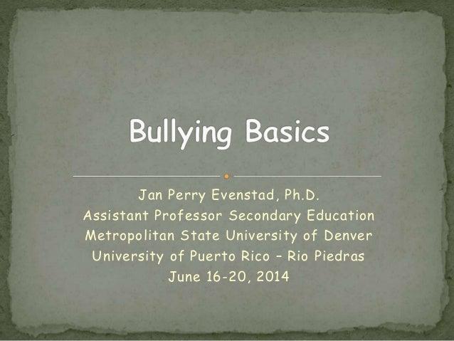 Jan Perry Evenstad, Ph.D. Assistant Professor Secondary Education Metropolitan State University of Denver University of Pu...