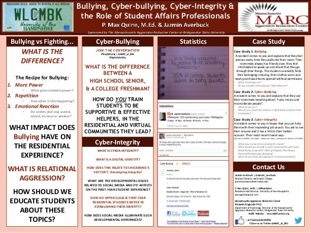 Bullying, Cyber-bullying, Cyber-Integrity & the Role of Student Affairs Professionals Sponsored by The Massachusetts Aggre...