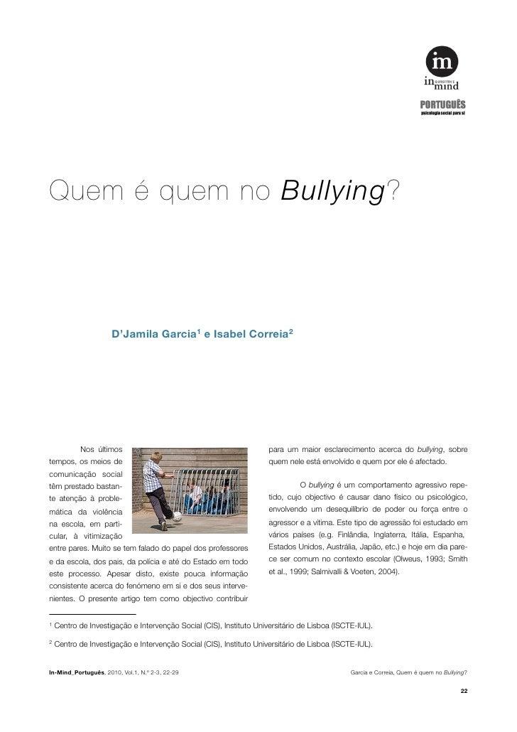 Quem é quem no Bullying?                    D'Jamila Garcia1 e Isabel Correia2          Nos últimos                       ...
