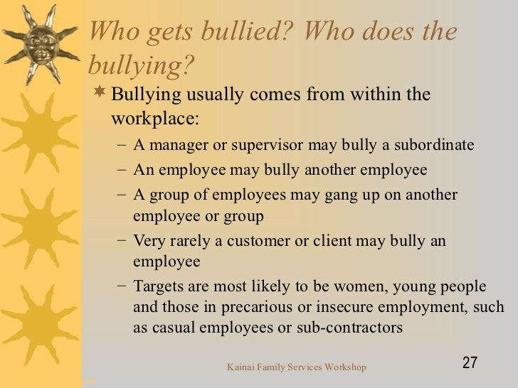 Bullying & harrassment in the workplace