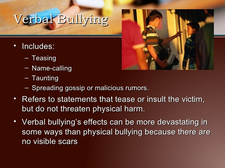 Bullying On Of Victim The Effects Verbal