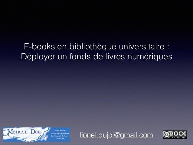 E-books en bibliothèque universitaire : Déployer un fonds de livres numériques lionel.dujol@gmail.com