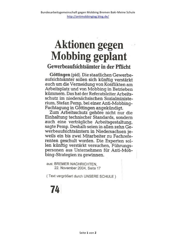 Bundesarbeitsgemeinschaft gegen Mobbing Bremen Baki-Meine Schule                 http://antimobbingtag.blog.de/           ...