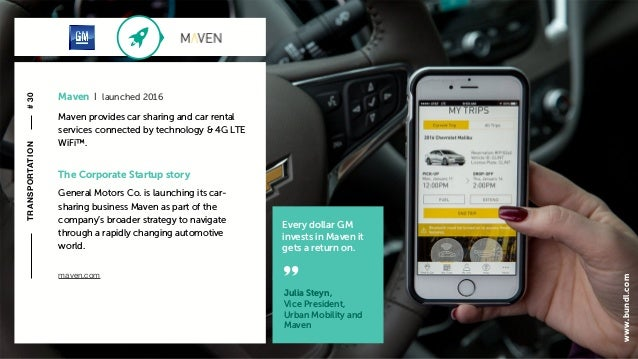 c The Corporate Startup story General Motors Co. is launching its car- sharing business Maven as part of the company's bro...