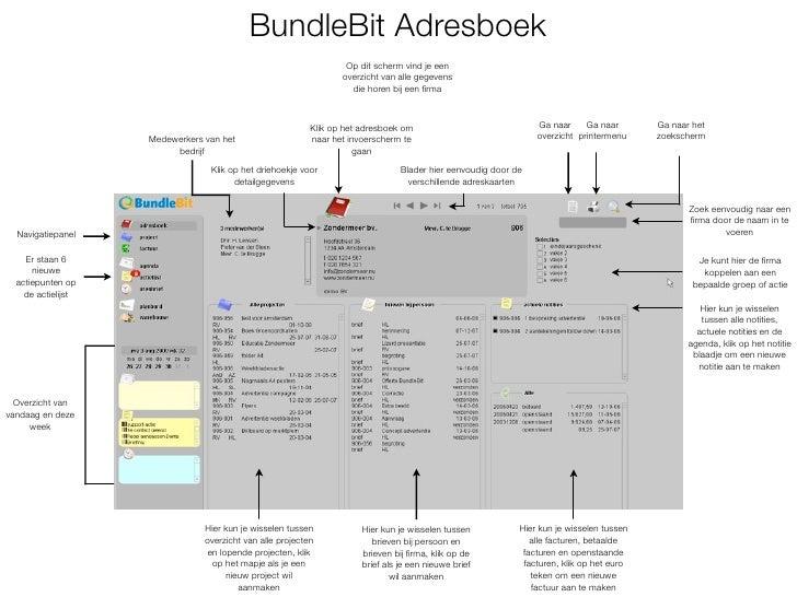 BundleBit Adresboek                                                                    Op dit scherm vind je een          ...