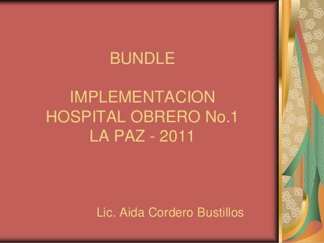 BUNDLE IMPLEMENTACION HOSPITAL OBRERO No.1 LA PAZ - 2011  Lic. Aida Cordero Bustillos