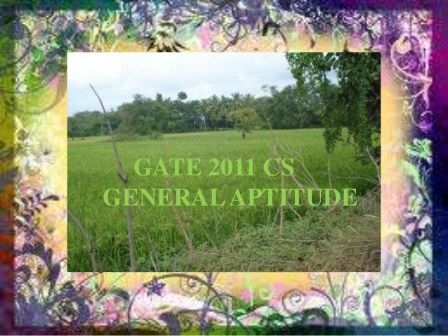 GATE 2011 CSGENERAL APTITUDE