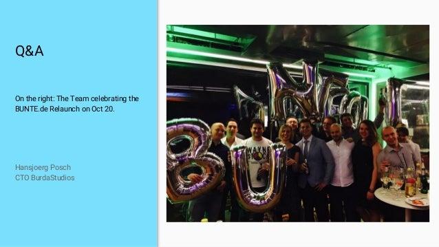 Q&A On the right: The Team celebrating the BUNTE.de Relaunch on Oct 20. Hansjoerg Posch CTO BurdaStudios