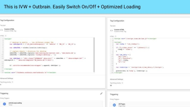This is IVW + Outbrain. Easily Switch On/Off + Optimized Loading