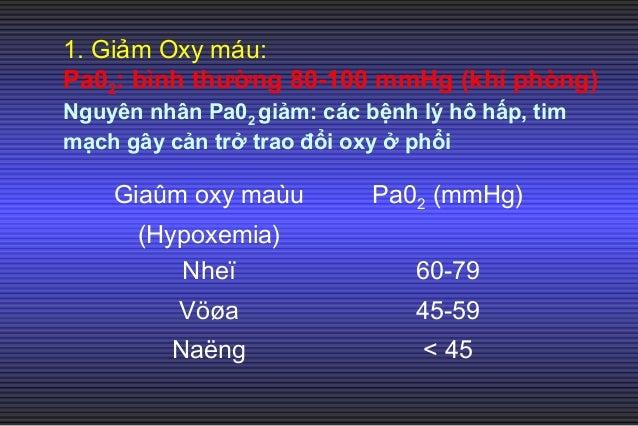• Hypoxemia nhẹ (Pa02 60-79 mmHg) không gây Hypoxia. • Hypoxemia vừa (Pa02 45-59 mmHg) có thể gây Hypoxia nếu có suy tuần ...