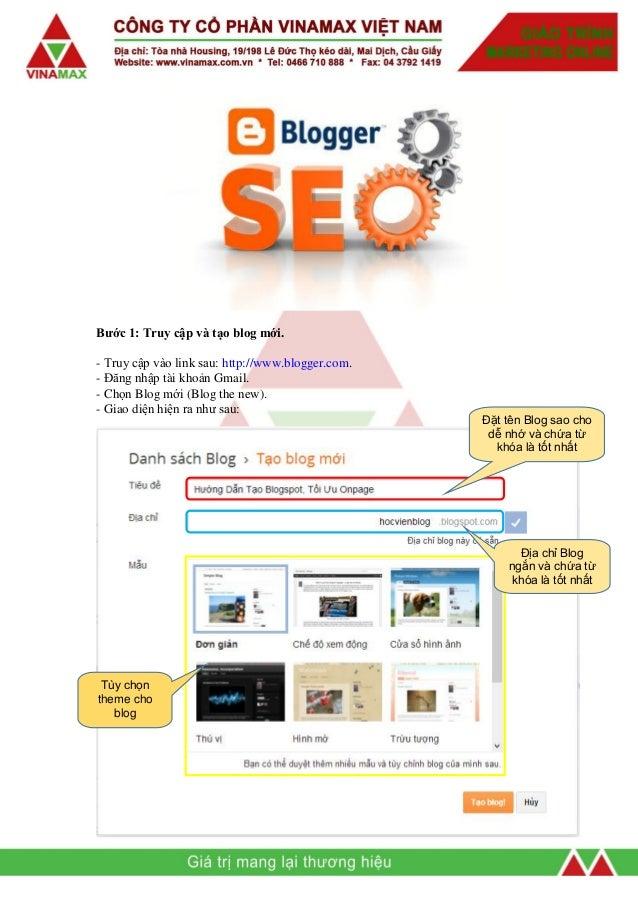 Hướng tối tạo và tối ưu blogspot Slide 3
