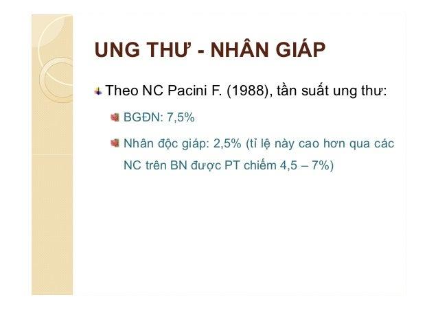 UNG THƯ - NHÂN GIÁP Theo NC Pacini F. (1988), tần suất ung thư: BGĐN: 7,5% Nhân độc giáp: 2,5% (tỉ lệ này cao hơn qua các ...