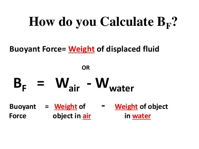 How to calculate bouyant forces of objects submerged in water