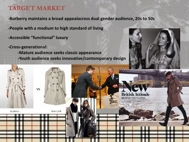 TARGET MARKET-Burberry maintains a broad appealacross dual gender audience, 20s to 50s-People with a medium to high standa...