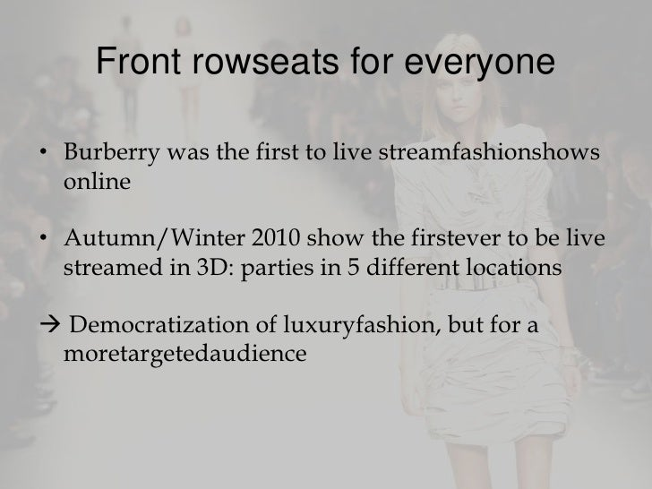 burberry strategy essay Swot analysis of burberry is covered on this page along with its segmentation, targeting & positioning (stp) analysis of burberry also covers its usp, tagline .