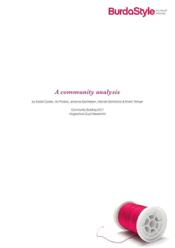 A community analysisby Kristel Coolen, An Porters, Johanna Sachtleben, Hannah Schönholz & Kristin Terhaar                 ...