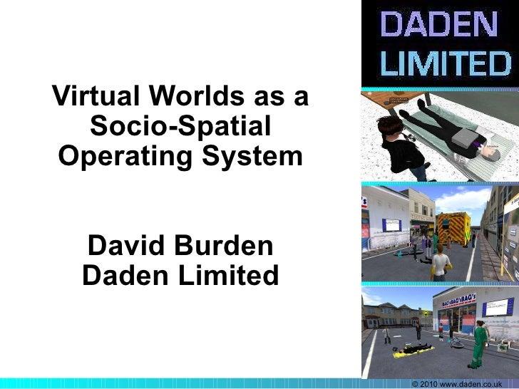 Virtual Worlds as a Socio-Spatial Operating System David Burden Daden Limited