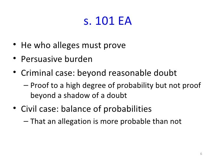 beyond reasonable doubt and balance of probability law essay Canadian criminal evidence/standard of proof from wikibooks, open books for an open world  proof beyond a reasonable doubt which is the standard to be met by the crown against the.