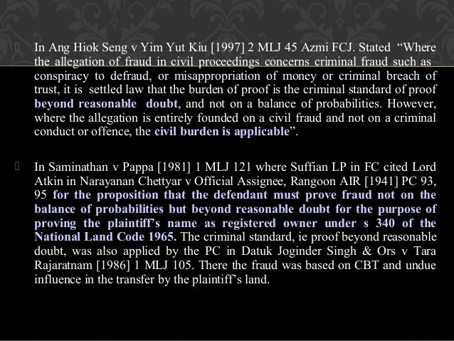 criminal evidence burden of proof Burden of proof in a civil case burdens of proof vary, depending on the type of case being tried the plaintiff's burden of proof in a civil case is called preponderance of evidence the burden of proof for the plaintiff and defendant in a civil trial, and for some defenses in a criminal prosecution, which is enough evidence to prove that it.