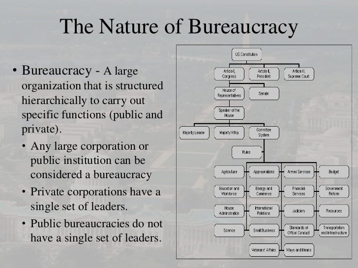 the nature of the bureaucracy Weber emphasized the importance of the bureaucracy in getting things done and believed that a well-organized, rational bureaucracy is the secret behind the successful operation of modern societies the iron triangle.