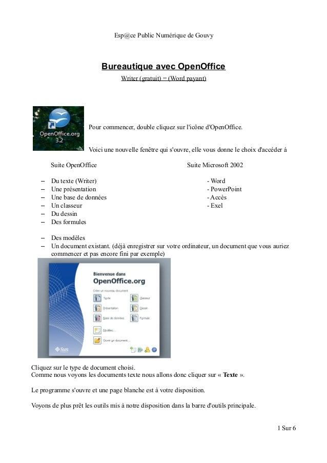 Esp@ce Public Numérique de Gouvy Bureautique avec OpenOffice Writer (gratuit) = (Word payant) Pour commencer, double cliqu...