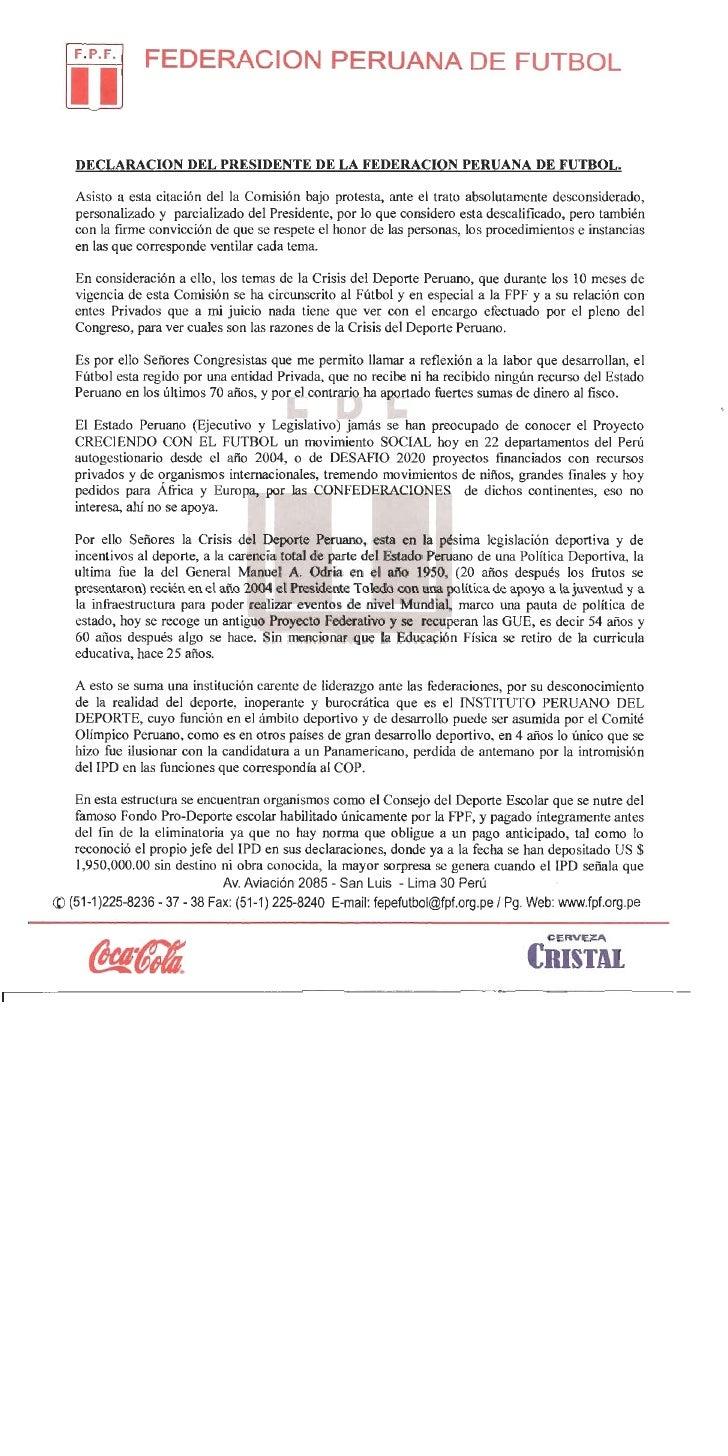 DECLARACIÒN DE MANUEL BURGA EN EL CONGRESO