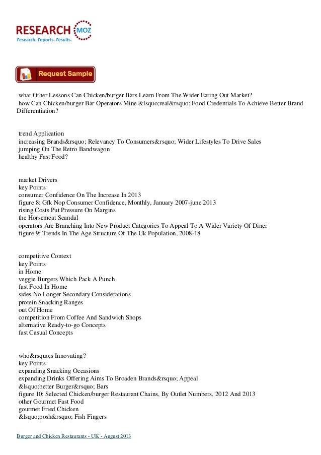Burger And Chicken Restaurants Uk August 2013 Researchmoz