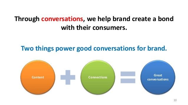 Through conversations, we help brand create a bond with their consumers.  Two things power good conversations for brand.  ...