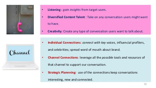 •  Listening : gain insights from target users.  •  Diversified Content Talent : Take on any conversation users might want...