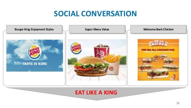 SOCIAL CONVERSATION Burger King Enjoyment Styles  Super Menu Value  Welcome Back Chicken  EAT LIKE A KING 38