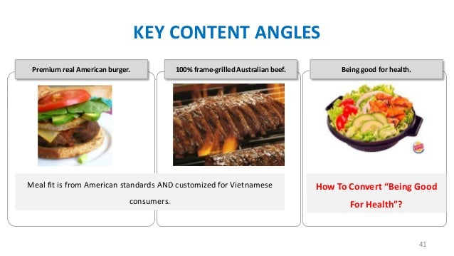KEY CONTENT ANGLES Premium real American burger.  100% frame-grilled Australian beef.  Being good for health.  Meal fit is...
