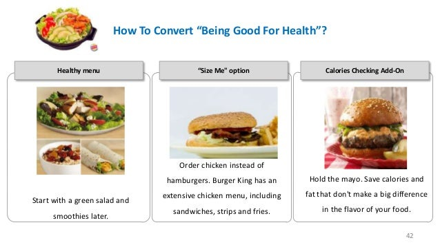 """How To Convert """"Being Good For Health""""? Healthy menu  """"Size Me"""" option • """"  Calories Checking Add-On  Order chicken instea..."""