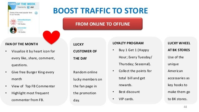 BOOST TRAFFIC TO STORE FROM ONLINE TO OFFLINE  FAN OF THE MONTH  LUCKY  LOYALTY PROGRAM  LUCKY WHEEL  •  Visualize it by h...