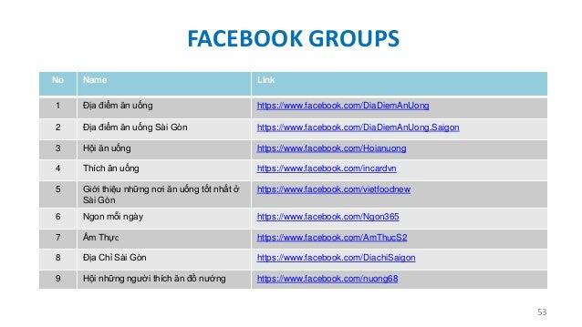 FACEBOOK GROUPS No  Name  Link  1  Địa điểm ăn uống  https://www.facebook.com/DiaDiemAnUong  2  Địa điểm ăn uống Sài Gòn  ...