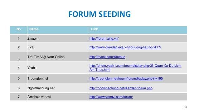 FORUM SEEDING No  Name  1  Zing.vn  http://forum.zing.vn/  2  Eva  http://www.diendan.eva.vn/hoi-uong-hat-ho-f417/  Trái T...