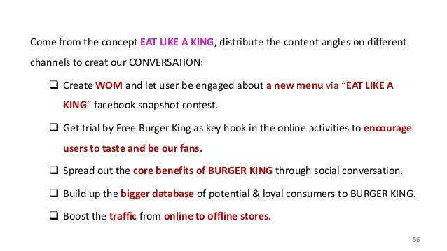 Come from the concept EAT LIKE A KING, distribute the content angles on different channels to creat our CONVERSATION:  Cr...