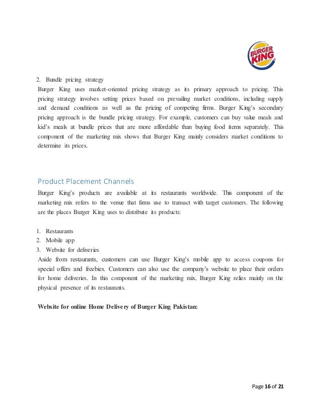 burger king pricing strategy Burger king: developing a marketing mix for growth case study burger king, one of america's quantity pricing discounts will be reflected at checkout.