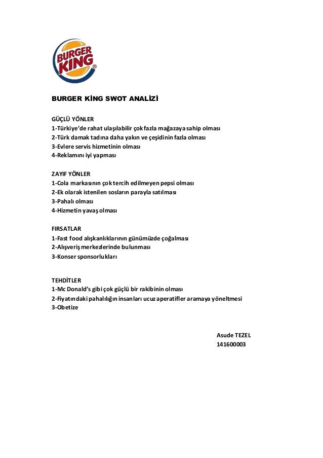 swot analysis mcdonalds vs burger king In the end, it is 3g capital which repurchased burger king in 2010 for 4 billion dollars burger king elsewhere than simply in the us more than 300 restaurants in australia.