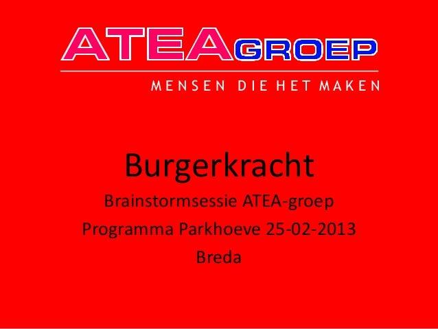MENSEN DIE HET MAKEN    Burgerkracht   Brainstormsessie ATEA-groepProgramma Parkhoeve 25-02-2013              Breda