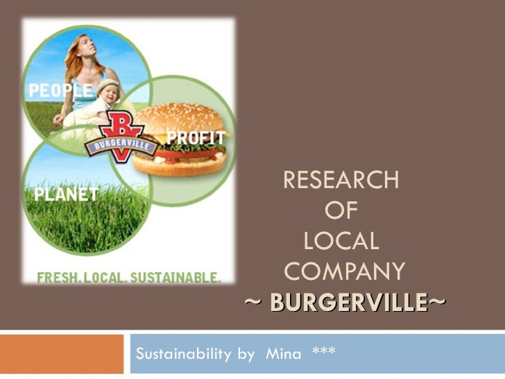 RESEARCH  OF  LOCAL  COMPANY ~ BURGERVILLE~ Sustainability by  Mina  ***