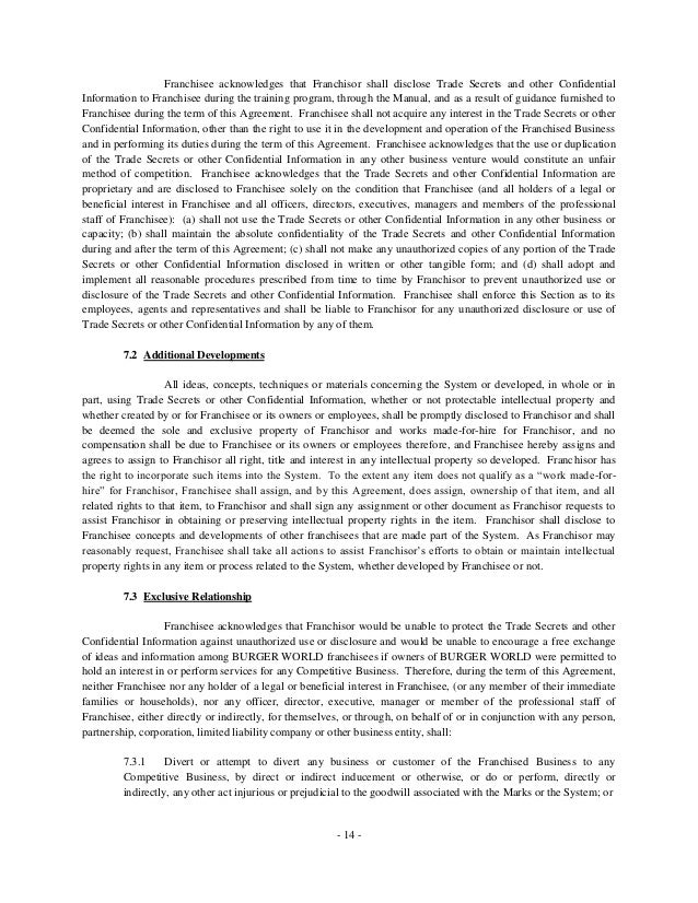 Burger World Individual Franchise Agreement 20130214 Khaled And Ahm