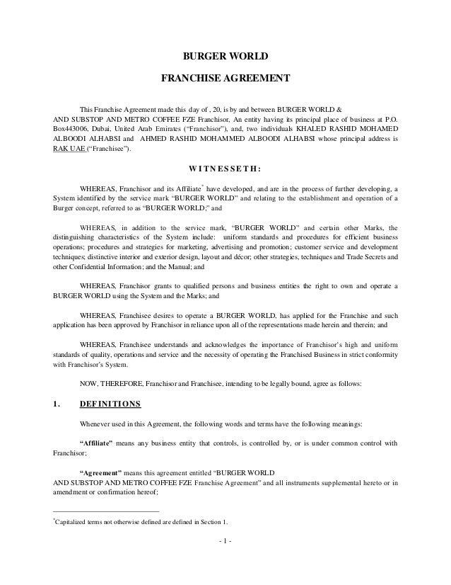 Burger world individual franchise agreement 20130214 khaled and ahm…