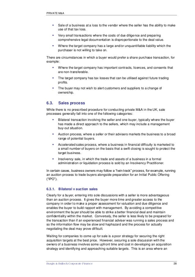 Burgis & Bullock - Guide to Mergers and Acquisitions in the UK