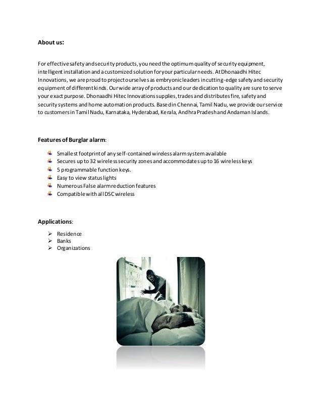 Burglar alarm information Slide 2
