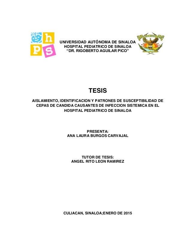 "UNIVERSIDAD AUTÓNOMA DE SINALOA HOSPITAL PEDIATRICO DE SINALOA ""DR. RIGOBERTO AGUILAR PICO"" TESIS AISLAMIENTO, IDENTIFICAC..."