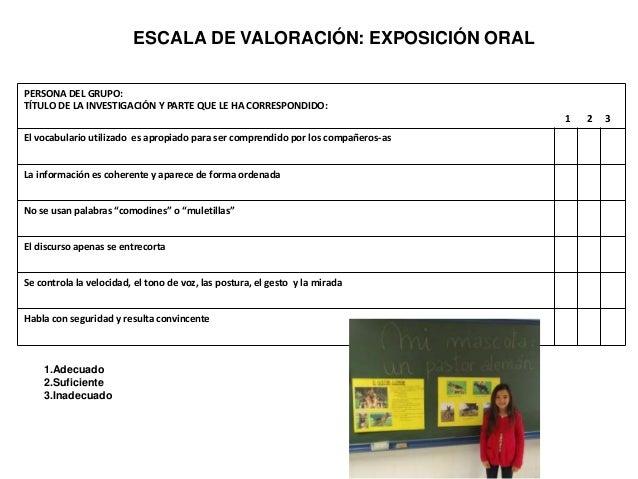 Rúbricas Hacer una exposición oral